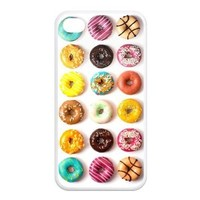 Cute Colorful Sugar Donuts White And Blue Iphone 4 4S TPU Silicone Back Case Cover Top customcasestore Show