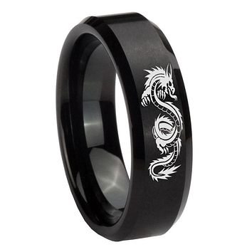 8mm Dragon Beveled Edges Brush Black Tungsten Carbide Men's Wedding Ring