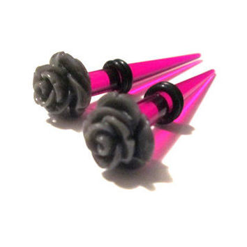 2g (6mm) Tapers Plugs for Gauged Ears - Unique Flower Punk meets Pretty (pair)