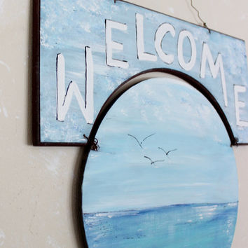Coastal Welcome Sign Artistic Beach house Decoration - Hand Painted Seascape Signage