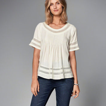 Womens Lace Pieced Tee | Womens New Arrivals | Abercrombie.com