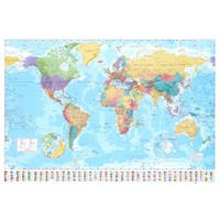 World Map (Flags at Bottom) Art Poster Print | Dorm Room Decor | OCM.com