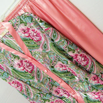 Satin, Pajama Set, Pinky Peach,  Sheer Chiffon, Paisley Print, Size, Large, Victoria Secret, Sexy Sleepwear, Honeymoon