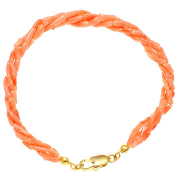 GENUINE NATURAL (NOT ENHANCED) PINK CORAL 4 STRAND BRAIDED BRACELET 6MM 7.5""