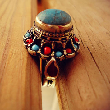 FREE Shipping Afghan Turquoise Coral Wedding Ring Kuchi Afghan Ring-.Turquoise wedding band.Afghani Wedding engagement ring