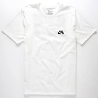 Nike Sb Herringbone Block 2 Mens T-Shirt White  In Sizes