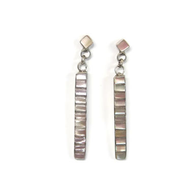Vintage Navajo Mother of Pearl Dangle Earrings Sterling