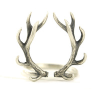 Deer Antler Ring Sterling Silver Adjustable Ring Horns Wrap Ring Boho Jewelry - FRI001SS Mate