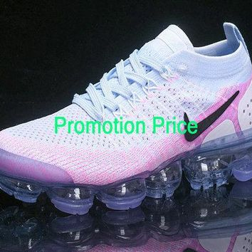 2018 Popular Mens Nike Air Vapormax Flyknit 2 Spring Summer 2018 Hydrogen Blue Pink shoe