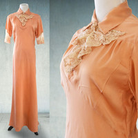 1930s Nightgown Peach Satin Dasche with Ecru Alencon Lace