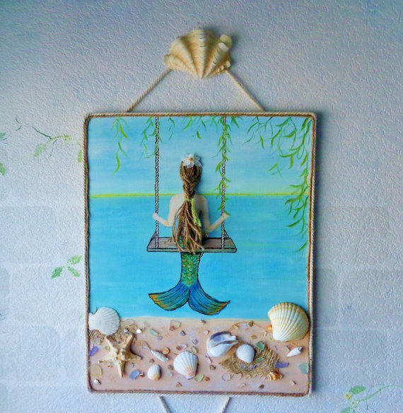 Mermaid On A Swing Mixed Media Painting From