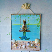 Mermaid on a Swing, mixed media painting. Brown braids, shells wall art. Original artwork on canvas.