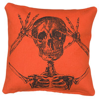 Peek-a-Boo Skeleton Throw Pillow