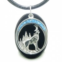 Howling Wolf Moon Amulet Spiritual Black Agate Necklace @ Jewelry Wonder