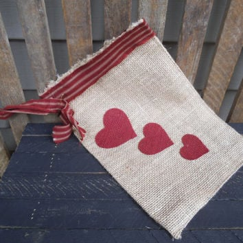"Valentine's Day Burlap Bag -Valentine's Day Hanging -Valentine's Day Gift Bag - Hearts - Burlap Bag -Valentine's Day Decoration - 12"" x 8 """