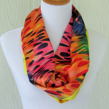 Multicolor Infinity Scarf , Colorful Women's Scarf , Circle Scarf, Loop Scarf, Necklace Scarf, Scarves, Eclectasie