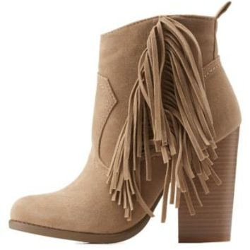 Taupe Side Fringe Ankle Booties by Charlotte Russe