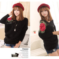 Aliexpress.com : Buy Free shipping 2013 Autumn Korean style openwork Splice batwing sleeves ladies mohair pullover women sweater GD345 C 1353 55 from Reliable sweater zip suppliers on eFoxcity Wholesale