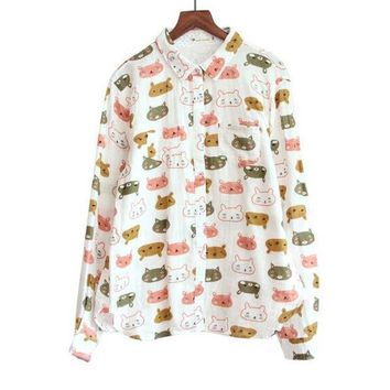 ICIK4S Playful cat head print Turn-down collar long sleeve Cotton yarn shirt blouse female