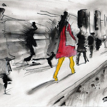 Ink painting on canvas A4 - The busy street