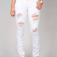 Canvas+Ripped+Low-Rise+Skinny+Jeans