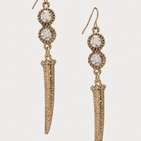 bebe Womens Crystal & Horn Earrings Crystal In Gold