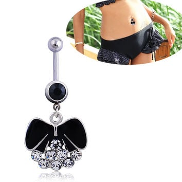 New Charming Dangle Crystal Navel Belly Ring Bling Barbell Button Ring Piercing Body Jewelry = 4804937540