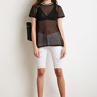 Mesh Stripe Trim Tee