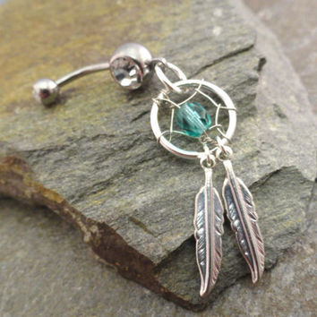 Teal Dream Catcher Belly Button Ring Double Silver Feathers Navel Jewelry Piercing