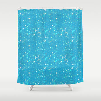 Soft Blue Glimmering Sparkles Shower Curtain by KCavender Designs