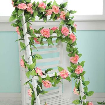 240cm Artificial Flower Home Decoration Wedding Flowers Fake Silk Rose Artificial Flower String Party Festival Home Decor flower