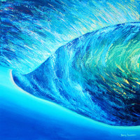 Surf Art, Wave Art, Original Acrylic Painting, Canvas Art, Beach House Wall Art, Beach Decor, BEHIND THE BARREL