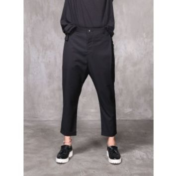Mens Fabio Drop Crotch Cropped Dress Pants Baggy Slacks at Fabrixquare