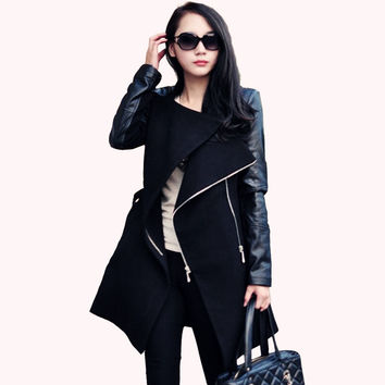 Fashion women coat Patchwork Womens Long Wool PU Leather Sleeve Jacket Coat Windbreaker Free Shipping