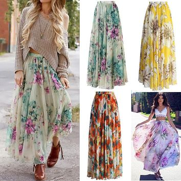 Womens Floral Jersey Gypsy Long Maxi Full Skirt