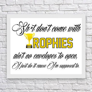 Drake lyrics Motivational / Inspirational rap / hip hop quote print / art / poster