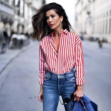 New Women Streetwear shirts female elegant Red Striped silk satin long sleeve button lapel Party blouse Tops