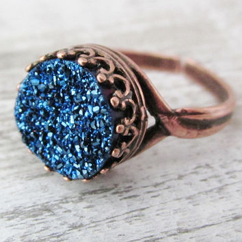 Midnight Blue Druzy Copper Ring, Round Titanium Blue Ring. Druzy Jewelry, Copper Adjustable Rings, Copper Jewelry