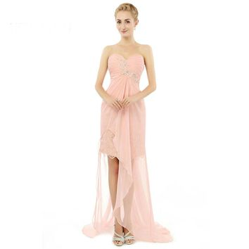 Chiffon Beaded A Line Sweetheart Split Backless Pink Formal Maternity Prom Dresses Lily Collins