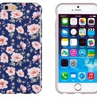 """iPhone 6 Case, DandyCase PERFECT PATTERN *No Chip/No Peel* Flexible Slim Case Cover for Apple iPhone 6 (4.7"""" screen) - LIFETIME WARRANTY [Vintage Navy Floral]"""