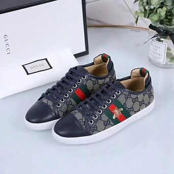 Gucci Small bee embroidered casual sports shoes