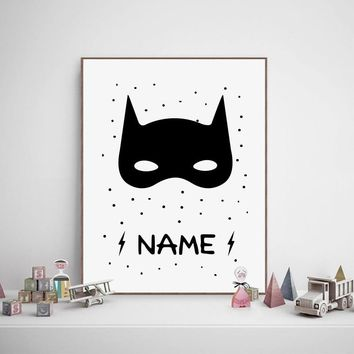 Batman Dark Knight gift Christmas Batman Boys Bedroom Print Nursery Wall Art Decor , Superhero Poster Personalised Custom Name Canvas Painting Kids Boy Room Decor AT_71_6
