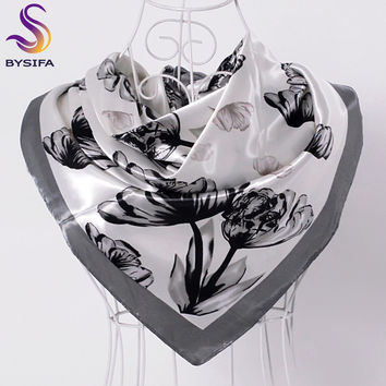 [BYSIFA] Ladies Black White Silk Scarf Shawl 2017 New Design Brand Large Square Scarves Wraps Hot Sale Mulsim Head Scarf Cape