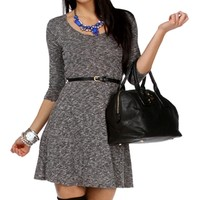 Charcoal Marbled Belted Tunic