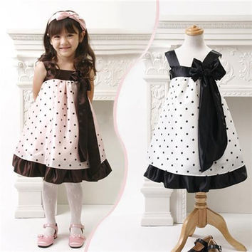 Little Girls Dresses with Bow Sleeveless Summer Kids Dresses Georgette Material Knee Length Design Polka Dot Pattern 19885