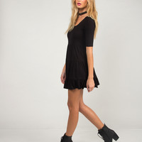 U-Back Babydoll Dress - Black - Large