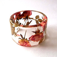 Pink and Yellow Roses Botanical Resin Bangle.  Chunky Bangle with Pressed Flowers.  Real Flowers - Pink and Yellow Roses