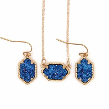 STYLEDOME Iridescent Druzy Drusy Pendant Necklace Earrings Jewelry Sets