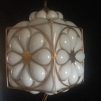 Vintage Murano Hand Blown  Milk Glass Pendant Light Fixture