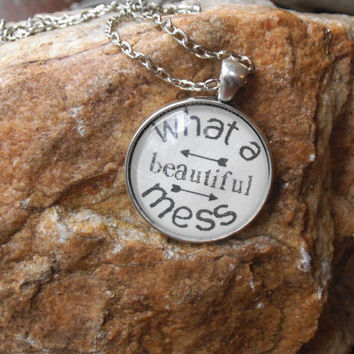 What a Beautiful Mess Bible Verse Necklace Charm Pendant Necklace